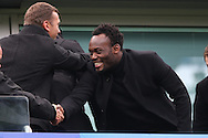 Chelsea legend Michael Essien in the stands. Premier league match, Chelsea v Arsenal at Stamford Bridge in London on Saturday 4th February 2017.<br /> pic by John Patrick Fletcher, Andrew Orchard sports photography.