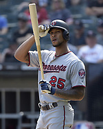 CHICAGO - JUNE 29:  Byron Buxton #25 of the Minnesota Twins looks on against the Chicago White Sox on June 29, 2019 at Guaranteed Rate Field in Chicago, Illinois.  (Photo by Ron Vesely)  Subject:  Byron Buxton
