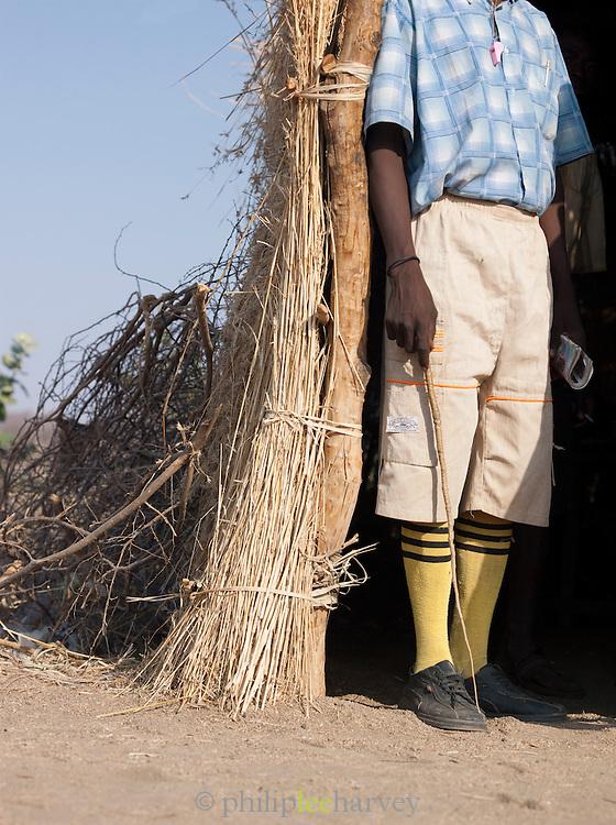 A school teacher in the Nuba tribe village Nyaro, Kordofan region, Sudan