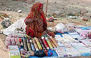 Woman selling various things along the road close to Shanpura, Madhya Pradesh, India.