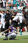 Jacksonville Jaguars rookie cornerback Jalen Ramsey (20) jumps in the air as he celebrates after stuffing a third down pass play with 11 seconds left in the second quarter during the 2016 NFL week 3 regular season football game against the Baltimore Ravens on Sunday, Sept. 25, 2016 in Jacksonville, Fla. The Ravens won the game 19-17. (©Paul Anthony Spinelli)