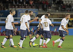 October 6, 2017 - Turin, Italy - Giorgio Chiellini of Italy celebrates with team-mates after scoring the opening goal during the FIFA 2018 World Cup Qualifier between Italy and FYR Macedonia at Stadio Olimpico on October 6, 2017 in Turin, Italy. (Credit Image: © Loris Roselli/NurPhoto via ZUMA Press)