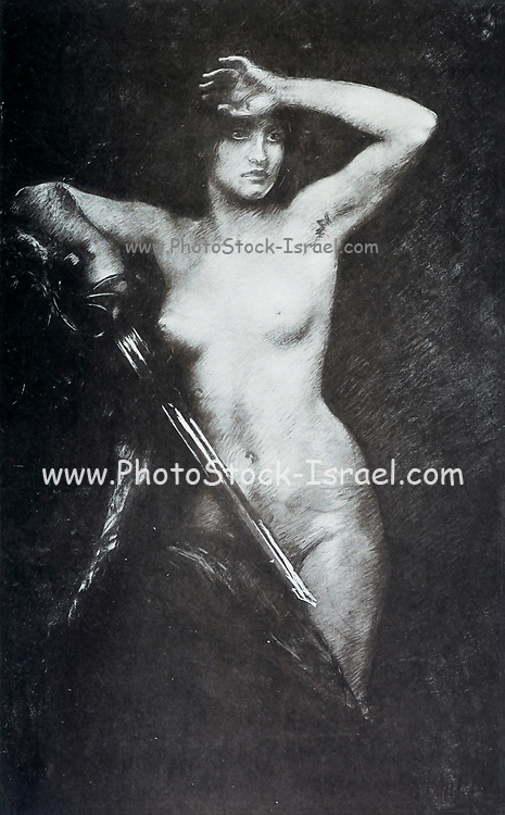 Vaincue [Beaten- Naked woman holds sword] by Huillard from Le Nu au Salon 1893 A collection of Nude photography published in Paris in 1908 by Societe nationale des beaux-arts (France). et Societe des artistes francais. Catalogues of nudes exhibited at the official Paris Salons. Risqué photography is material that is slightly indecent or liable to shock, especially as sexually suggestive.