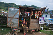 Dhading district, a small shop selling mobile phone cards and snacks. The mobile network in Nepal is extensive and most Nepalese have a phone.