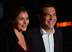 Greek Prime Minister Alexis Tsipras and his partner Peristera Baziana arriving on eve of the commemoration of the Centenary of Armistice Day 1918 for a State Dinner in Musee d'Orsay, Paris, France on November 10th,2018. Photo by Christian Liewig/ABACAPRESS.COM