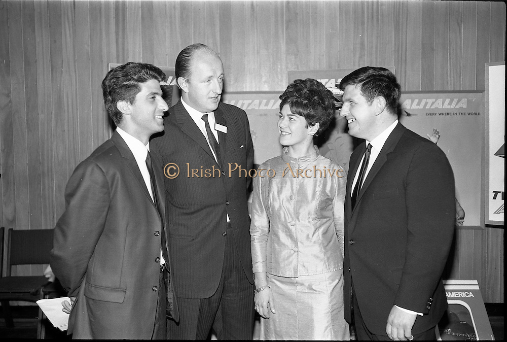 """17/09/1968<br /> 09/17/1968<br /> 17 September 1968<br /> Roma Foods launch new cookery competition at a reception in Liberty Hall, Dublin. The """"Great Pasta Recipe Competition"""" was sponsored by Roma Food Products Ltd. in conjunction with Alitalia Airlines and the Italian State Tourist Office. Picture shows (l-r): Mr. L.A. Malta, Italian State Tourist Office; Mr Patrick Meade, Managing Director, Roma Food Products; Miss Elizabeth McCarthy, Alitalia Airlines and Mr D.J. Fitzpatrick, Sales Manager, Alitalia Airlines."""