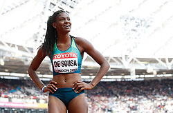 Brazil Tamara De Sousa after the 100m element of the Women's Heptathlon during day two of the 2017 IAAF World Championships at the London Stadium. PRESS ASSOCIATION Photo. Picture date: Saturday August 5, 2017. See PA story ATHLETICS World. Photo credit should read: Martin Rickett/PA Wire. RESTRICTIONS: Editorial use only. No transmission of sound or moving images and no video simulation.