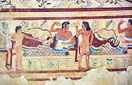"""Underground Etruscan tomb Known as """"Tomb of the Leopard A single chamber with double sloping ceiling decorated with a painted chequered design. In the tympanuim are painted two leopards below which is a banquet sceneOn the back wall is painted a banquet scene in honour of the dead. Circa 470 BC. Excavated 1857, Etruscan Necropolis of Monterozzi, Monte del Calvario, Tarquinia, Italy. A UNESCO World Heritage Site. .<br /> <br /> Visit our ETRUSCAN PHOTO COLLECTIONS for more photos to buy as buy as wall art prints https://funkystock.photoshelter.com/gallery-collection/Pictures-Images-of-Etruscan-Historic-Sites-Art-Artefacts-Antiquities/C0000GgxRXWVMLyc"""