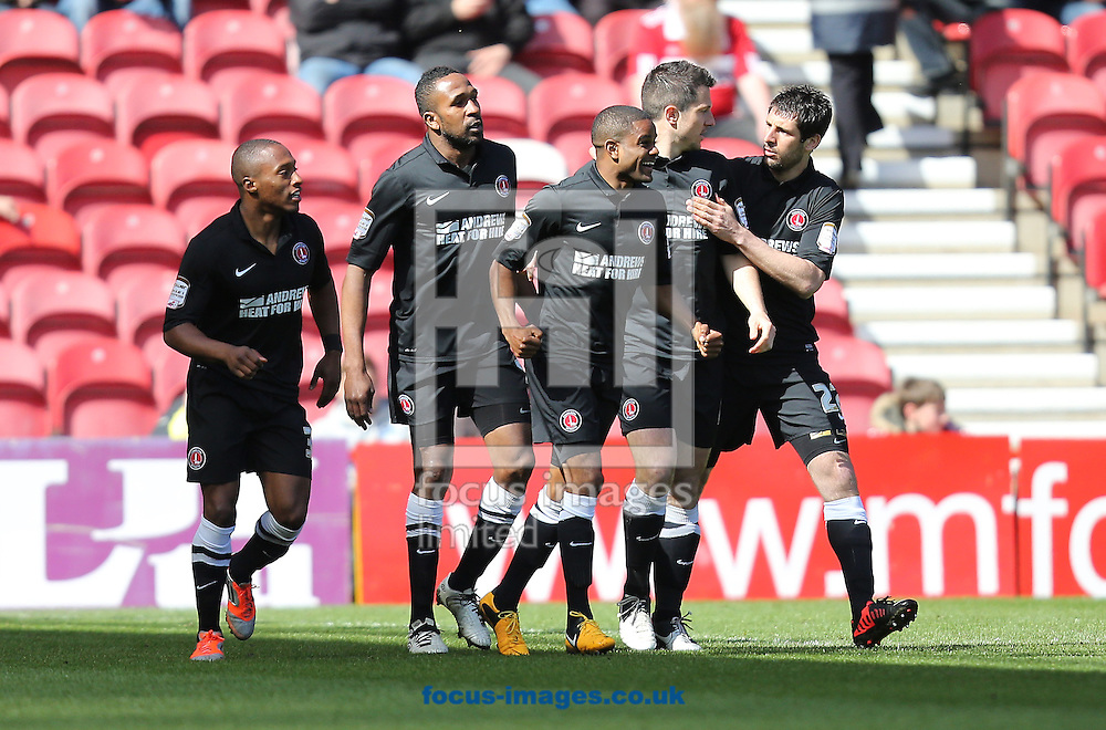 Picture by Paul Gaythorpe/Focus Images Ltd +447771 871632.27/04/2013.Charlton Athletic players celebrate Bradley Pritchard scoring the opening goal against Middlesbrough during the npower Championship match at the Riverside Stadium, Middlesbrough.