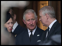 June 27, 2017 - London, London, United Kingdom - Image licensed to i-Images Picture Agency. 27/06/2017. London, United Kingdom.  Princess Royal, Prince of Wales and Duke of York leaving the  funeral of Countess Mountbatten of Burma at  St.Paul's church in Knightsbridge, London. Picture by Stephen Lock / i-Images (Credit Image: © Stephen Lock/i-Images via ZUMA Press)