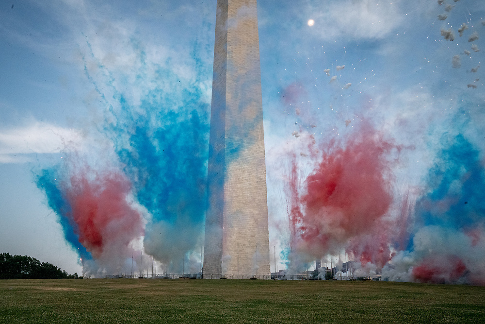 Fireworks go off around the base of the Washington Monument south of the White House as President Donald J. Trump and First Lady Melania Trump host the 2020 Salute to America to celebrate America's Independence Day in Washington, DC on Saturday, July 4, 2020.     Photo by Ken Cedeno/UPI