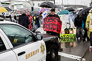 Anti-Trump protest in downtown Los Angeles.<br />  Caravan for Justice protesting outside of LA County Men's Central Jail.