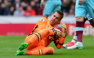 Adrian, goalkeeper of West Ham utd in action. Premier league match, Stoke City v West Ham Utd at the Bet365 Stadium in Stoke on Trent, Staffs on Saturday 29th April 2017.<br /> pic by Bradley Collyer, Andrew Orchard sports photography.