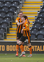 Hull City's Keane Lewis-Potter is congratulated by Callum Elder after he scores his side's first goal  in the 22nd minute<br /> <br /> Photographer Lee Parker/CameraSport<br /> <br /> The EFL Sky Bet League One - Hull City v Oxford United - Saturday 13th March 2021 - KCOM Stadium - Kingston upon Hull<br /> <br /> World Copyright © 2021 CameraSport. All rights reserved. 43 Linden Ave. Countesthorpe. Leicester. England. LE8 5PG - Tel: +44 (0) 116 277 4147 - admin@camerasport.com - www.camerasport.com