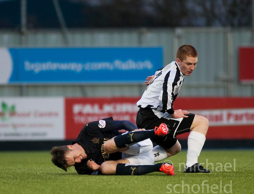 Fraserburgh's John Chalmers tackles Falkirk's Ryan Blair.  <br /> Falkirk 4 v 1 Fraserburgh, Scottish Cup third round, played 28/11/2015 at The Falkirk Stadium.