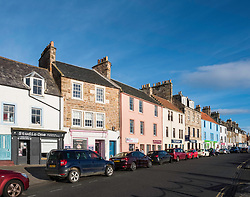 View of main street in  Anstruther fishing village in East Neuk of Fife in Scotland, United Kingdom