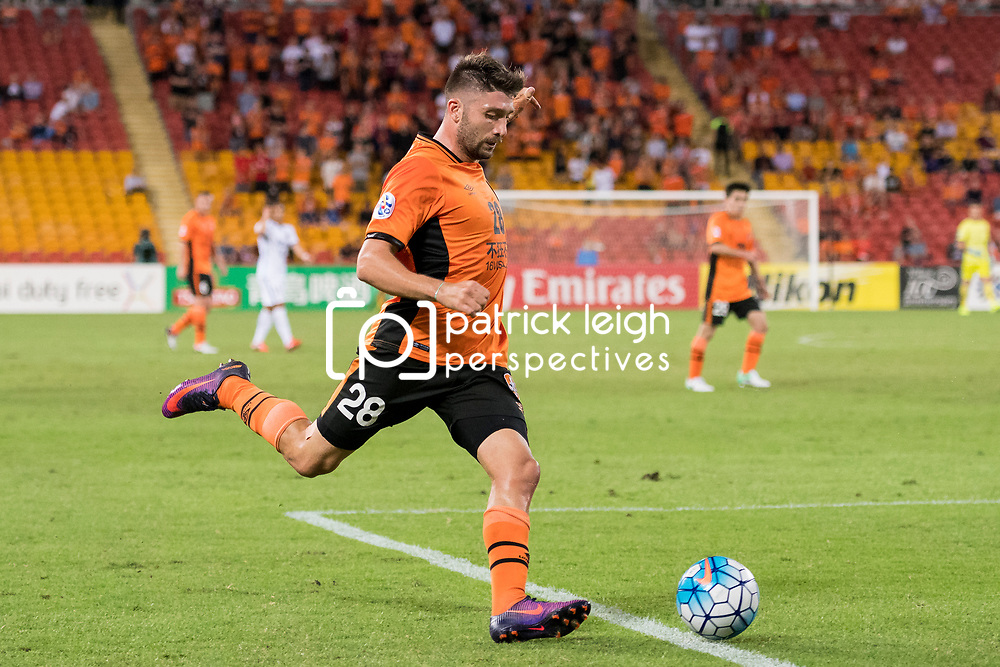 BRISBANE, AUSTRALIA - APRIL 12: Brandon Borrello of the Roar in action during the Asian Champions League Group Stage match between the Brisbane Roar and Kashima Antlers at Suncorp Stadium on April 12, 2017 in Brisbane, Australia. (Photo by Patrick Kearney/Brisbane Roar)