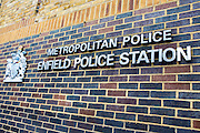THe sign of the main Police station in Enfiled Town, Greater London.