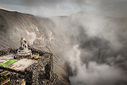 Hindu Shrine above the crater of Mount Bromo, Mt Bromo, Tengger massif, East Java, Indonesia, Southeast Asia