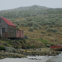 A decaying sheep barn  and ship sit by a beach on West Point Island in Britain's  Falkland Islands.