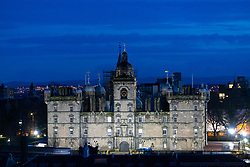 Night view of George Heriots School in Edinburgh, Scotland, UK