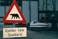 Polar bear warning sign, Spitsbergen / Svalbard, Norway