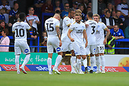 GOAL Jason Cummings celebrates with teammates during the EFL Sky Bet League 1 match between Rochdale and Peterborough United at Spotland, Rochdale, England on 11 August 2018.