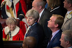 Prime Minister, Theresa May arrives in the House of Lords to hear Her Majesty The Queen present the government's Queen's Speech at the Palace of Westminster in London.
