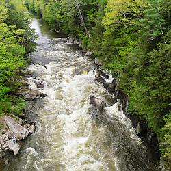 An aerial view of the Presumpscot River in Portland, Maine. Spring. Presumpscot Falls.