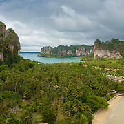 Aerial view of Railay beach from the cliff viewpoint, Krabi, Thailand