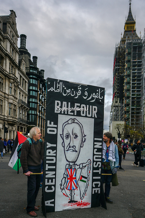 London, England, UK. 4th November 2017.  Thousands march against Israelis occupation and demand British government to Make it right for Palestine and pay compensation to Palestinian suffering and bloodshed in the name of Balfour Decoration.