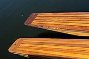 "Maidenhead, United Kingdom. Wooden Punt Bows/Sterns.  ""Thames Punting Club Regatta"", Bray Reach.<br /> 08:55:26 Sunday  06/08/2017<br /> <br /> [Mandatory Credit. Peter SPURRIER Intersport Images}.<br /> <br /> LEICA M (Typ 262) mm  f2.4   1/1000 /sec    100 ISO River Thames, .......... Summer, Sport, Sunny, Bright, Blue Skies, Skilful,"