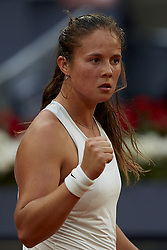 May 9, 2018 - Madrid, Madrid, Spain - Daria Kasatkina of Russia celebrates a point in her match against Garbine Muguruza of Spain during day five of the Mutua Madrid Open tennis tournament at the Caja Magica on May 9, 2018 in Madrid, Spa  (Credit Image: © David Aliaga/NurPhoto via ZUMA Press)