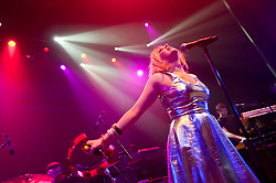 © Licensed to London News Pictures. 16/05/2012. London, UK. Little Boots performs live at O2 Shepherd's Bush Empire, supporting Scissor Sisters.  Victoria Christina Hesketh (born 4 May 1984), better known by her stage name Little Boots, is an English electropop singer-songwriter. Her stage name comes from a nickname given to her by a friend, a reference to her unusually small feet.   Photo credit : Richard Isaac/LNP