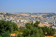 Israel, Jerusalem Old City, The Dome of the Rock at Haram esh Sharif the Noble Sanctuary and the old city as seen from the Zeevi observation point on mount Olives