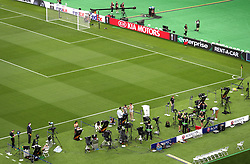 A general view of the media preparing ahead of the match during the UEFA Europa League final at The Olympic Stadium, Baku, Azerbaijan.