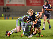 Sale Sharks scrum-half Fat de Klerk is held up short of the line by Newcastle Falcons flanker Will Welch during the The Aviva Premiership Round 2 match Sale Sharks -V- Newcastle Falcons at The AJ Bell Stadium, Salford, Greater Manchester, England on Friday, September 8, 2017. (Steve Flynn/Image of Sport)