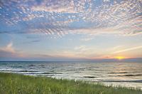 Sunset on the eastern shore of Lake Michigan. Ludington State Park Michigan