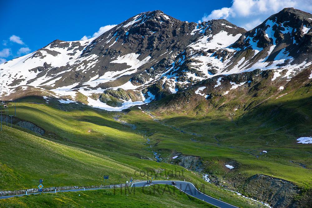 Motorcycles on The Stelvio Pass, Passo dello Stelvio, Stilfser Joch, on route from Bormio to Trafoi in the Alps, Northern Italy