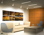 """Coming into Phoenix, Arizona from the West, at 1:30 am.  The city lights are just amazing.  This Absolute Knock Out for a high-profile professional front office consists of eight individual Phoenix at Night Series images, each one printed on a 20"""" x 13"""" piece of aluminum using floating mounts. Total approximate size is 7.5 ft x 2.2 ft. Contact me for further details."""