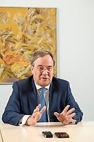 31 MAY 2021, BERLIN/GERMANY:<br /> Armin Laschet, CDU, Ministerpraesident Nordrhein-Westfalen und CDU Bundesvorsitzender, waehrend einem Interview, Landesvertretung NRW<br /> IMAGE: 20210531-01-010