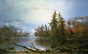 Autumn Landscape'. Oil on canvas. Francois Regis Gignoux (1816-1882) French-born American painter. Hudson River School. Water  Tree Wodland Forest Mist Hills Romantic Peaceful