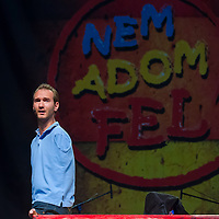 Nick Vujicic born without legs and arms delivers his speech about hope in Budapest, Hungary on April 18, 2013. ATTILA VOLGYI