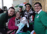 Eoin Cashman, Amelia Cashman, Jade, and William Cashman, from Cork, with Ciaran Byrne, and Mary Byrne, from New York and , from Cork during the centenary Easter Rising Parade at Cuffe Street in Dublin. Picture credit; Damien Eagers 27/3/2016