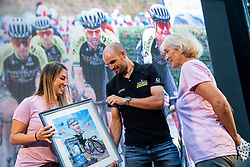 Girlfriend Tanja Seles, Luka Mezgec and his mother at Reception of Slovenian rider Luka Mezgec after  he finished his first Tour de France 2020 and placed second at 2 stages, on September 21, 2020 in Joze Plecnik garden, Ljubljana, Slovenia. Photo by Vid Ponikvar / Sportida