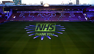 Premier League football team Sheffield United's ground Bramall Lane turns blue to thank the NHS during the Covid19 shutdown at Bramall Lane, Sheffield. Picture date: 23rdApril 2020. Picture credit should read: Simon Bellis/Sportimage