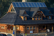 An exterior of the Bocowka log restaurant, a traditional mountain log cabin in southern Poland, on 21st September 2019, in Jaworki, near Szczawnica, Malopolska, Poland.