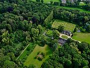 Nederland, Overijssel, Gemeente Zwolle, 21–06-2020; Landgoed Windesheim. Van de voormaligehavezateHuis te Windesheim resten nog (slechts) twee bouwhuizen, rond de ruïne van het huis de slotgracht. Windesheim estate. Only two assistance houses are left from the former manor house Windesheim.<br /> <br /> luchtfoto (toeslag op standaard tarieven);<br /> aerial photo (additional fee required)<br /> copyright © 2020 foto/photo Siebe Swart