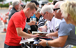 "Southampton's Steven Davis meeting fans during a pre season friendly match at Pride Park, Derby. PRESS ASSOCIATION Photo. Picture date: Saturday July 21, 2018. Photo credit should read: Anthony Devlin/PA Wire. EDITORIAL USE ONLY No use with unauthorised audio, video, data, fixture lists, club/league logos or ""live"" services. Online in-match use limited to 75 images, no video emulation. No use in betting, games or single club/league/player publications."