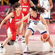 TOKYO, JAPAN August 8:  Sue Bird #6 of the United States  defended by Rui Machida #13 of Japan during the Japan V USA basketball final for women at the Saitama Super Arena during the Tokyo 2020 Summer Olympic Games on August 8, 2021 in Tokyo, Japan. (Photo by Tim Clayton/Corbis via Getty Images)